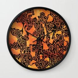 Orange Abstract Print Wall Clock