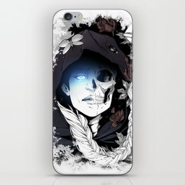 Watcher on the Bridge, witch illustration with skull and roses iPhone Skin