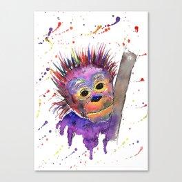 Flinty the Purple Baby Orangutan Canvas Print