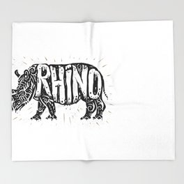 Rhino in tribal style Throw Blanket