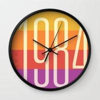 1984 Wall Clocks featuring 1984 (h) by Dan Rubin