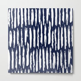Vertical Dash White on Navy Blue Paint Stripes Metal Print