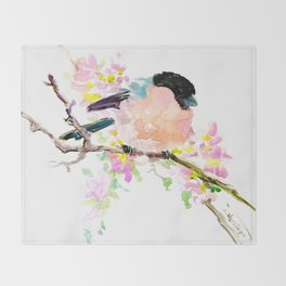 Bullfinch and Spring Throw Blanket