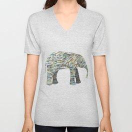 Elephant Paper Collage in Gray, Aqua and Seafoam Unisex V-Neck