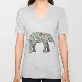 Elephant Paper Collage in Gray, Aqua and Seafoam Unisex V-Neck