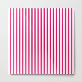 Hot Pink & White Vertical Stripes Metal Print