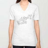 swallow V-neck T-shirts featuring Colouring Swallow by Jelly Roger