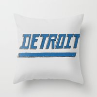 detroit Throw Pillows featuring Detroit by Matt Edward