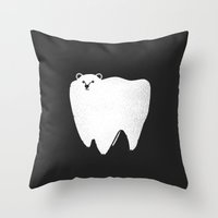 bear Throw Pillows featuring Molar Bear by Zach Terrell