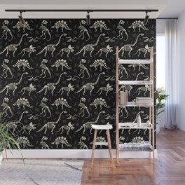 Dinosaur Fossils on Black Wall Mural