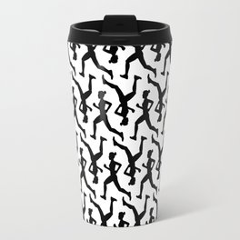 Running Girl B&W Pattern Travel Mug