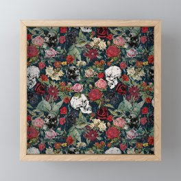 Distressed Floral with Skulls Pattern Framed Mini Art Print