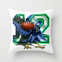 seahawks Throw Pillows featuring 12thMan by Dreamstate Design