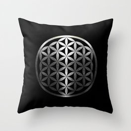 Flower Of Life (Silver Gleams) Throw Pillow