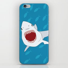 Shark Attack Underwater With Fish Swimming In The Background iPhone Skin