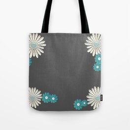 Gray,blue flowers Tote Bag
