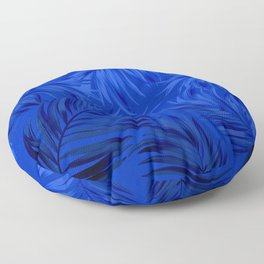 Palm Tree Fronds Brilliant Blue on Blue Hawaii Tropical Décor Floor Pillow