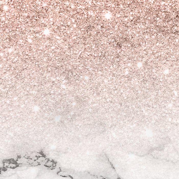 Modern faux rose gold pink glitter ombre white marble Leggings