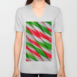 Red and Green Candy Canes Diagonal Stripes  Unisex V-Neck