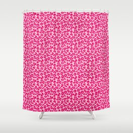 Leopard Print in Pastel Pink, Hot Pink and Fuchsia Shower Curtain