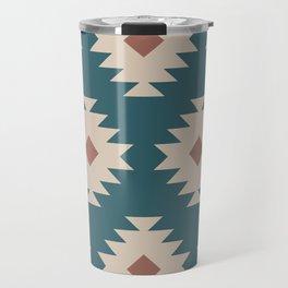 Southwestern Pattern 535 Teal Green and Brown Travel Mug
