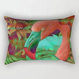 """""""Tropical Floral Retro Flamenco"""" Rectangular Pillow"""