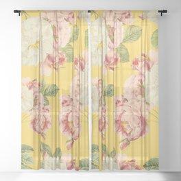 Flora temptation - sunny mustard Sheer Curtain