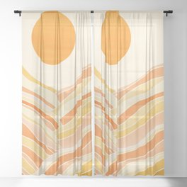 Golden Mountain Sunset Sheer Curtain