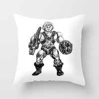 he man Throw Pillows featuring HE-MAN by Furry Turtle Creations