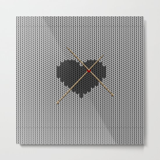 Original Knitted Heart Design Metal Print