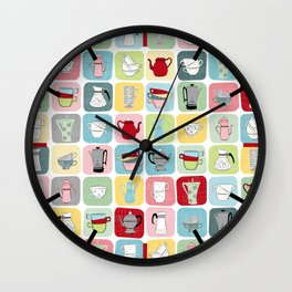Retro Coffee Pots and Cups Pattern Wall Clock