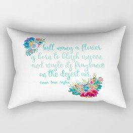 Jane Austen Quote - Flowers on White Rectangular Pillow