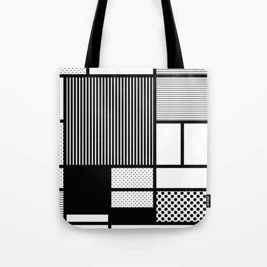 Composition With Black, Dots, Stripes & Black Tote Bag