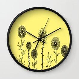 Flowers yellow Wall Clock