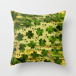 Irish Shamrock -Clover Abstract Gold and Green pattern Throw Pillow