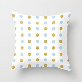 Dalmatian - Blue & Gold Foil #447 Throw Pillow