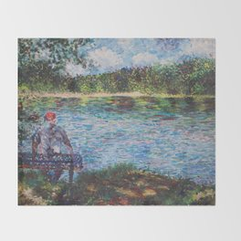 The Old Man and the Lake Throw Blanket