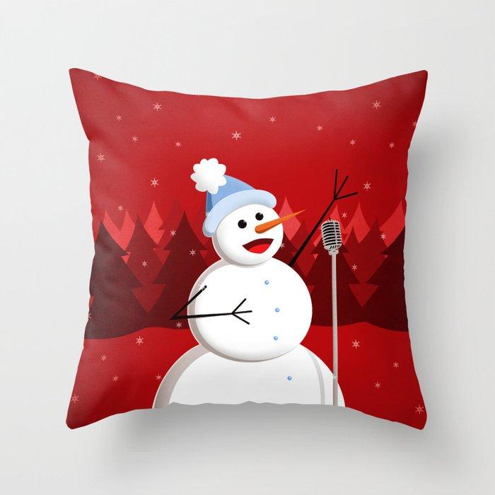 Happy Singing Snowman Throw Pillow