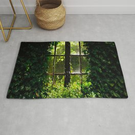 Green idyllic overgrown cottage garden window Rug