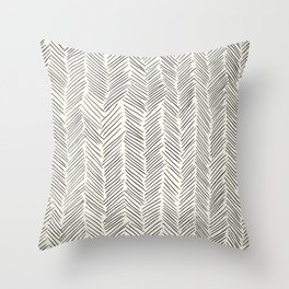 Herringbone Black on Cream Throw Pillow