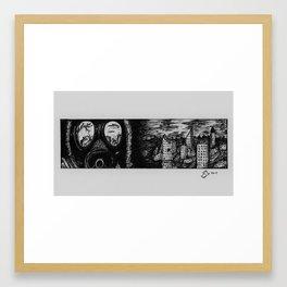 Doomsday Mask - Pen and Ink Illustration Framed Art Print