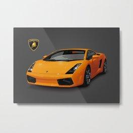 Orange Lamborghini Metal Print