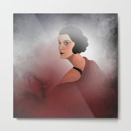 the woman in red - with rosebud Metal Print