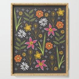 bright retro floral print Serving Tray