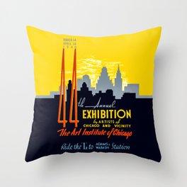 Vintage Chicago Art Poster - 1940's Throw Pillow