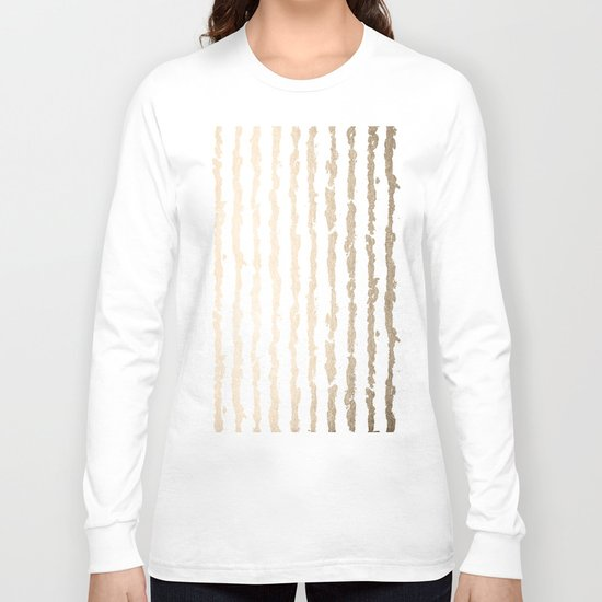 White Gold Sands Vertical Ink Stripes Long Sleeve T-shirt
