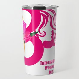 International Women s Day Greetings Card with wate Women's Day t shirt Womens Day WDay 8 March IWD t Travel Mug