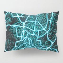 Vilnius, Lithuania, Blue, White, Neon, Glow, City, Map Pillow Sham