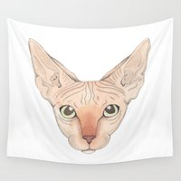 sphynx Wall Tapestries featuring Sphynx by Stine Bergskas