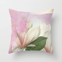 magnolia Throw Pillows featuring magnolia by clemm